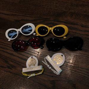 2 Rastaclat Bracelets & 4 Clout Goggles